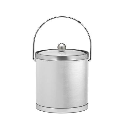 Sophisticates 3 Qt. White and Brushed Chrome Ice Bucket with Bale Handle, Metal Lid (Case of 6)