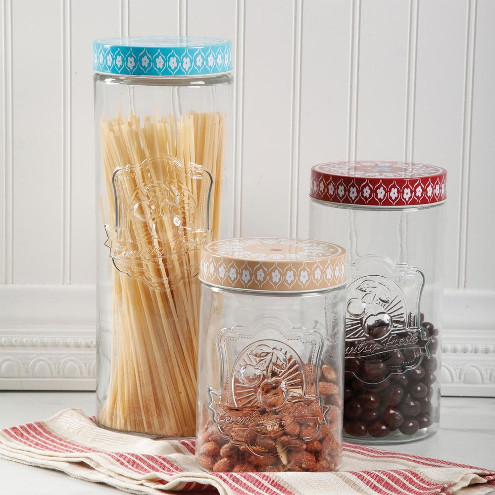 Hollydale 3-Piece Canister Set with Decorated Steel Lids