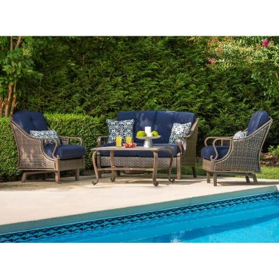 Ventura 4-Piece All-Weather Wicker Patio Seating Set with Navy Blue Cushions