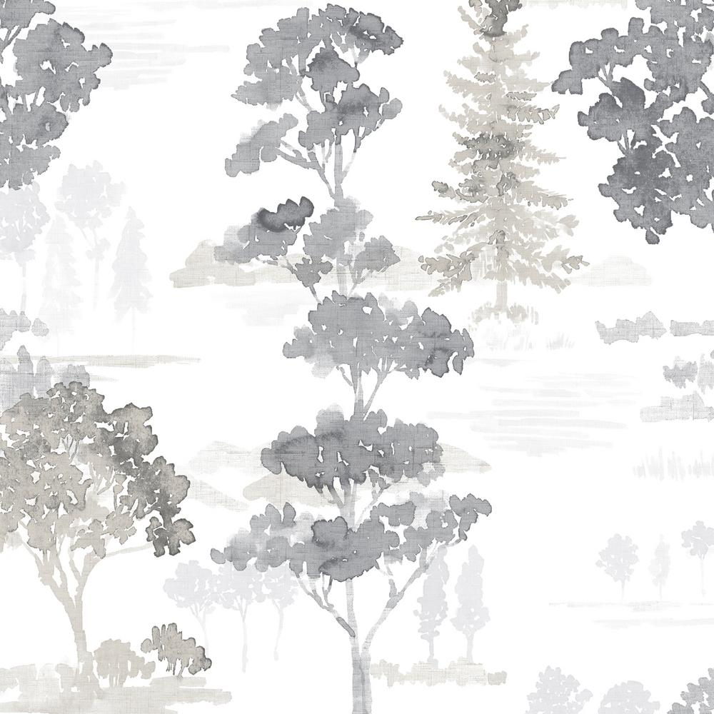 Norwall Forest Wallpaper Black Grey White Fw36833 The Home Depot