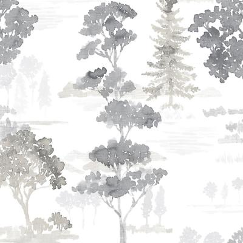 Forest Wallpaper Black, Grey & White