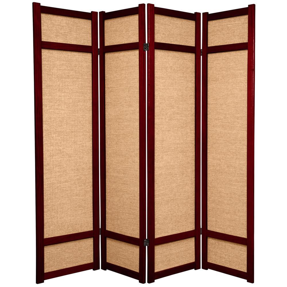 6 ft rosewood 4 panel room divider jkshoji rwd 4p the for Four panel room divider screen