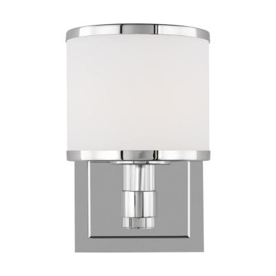 Winter Park 5 in. Chrome Sconce with White Opal Etched Glass Shade