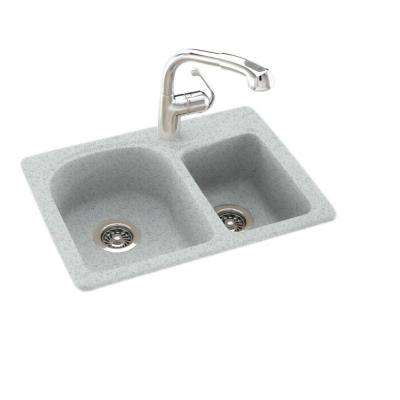 Drop-In/Undermount Solid Surface 25 in. 1-Hole 60/40 Double Bowl Kitchen Sink in Tahiti Gray