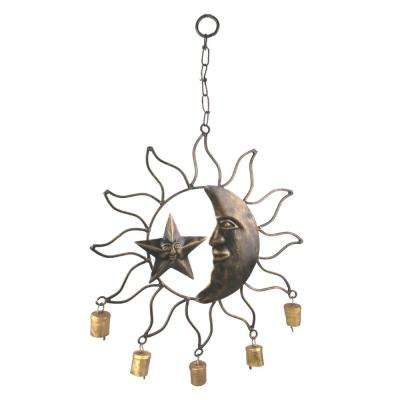 Sun, Moon and Star 20 in. x 11 in. Wrought Iron Wind Chime with Metal Bells