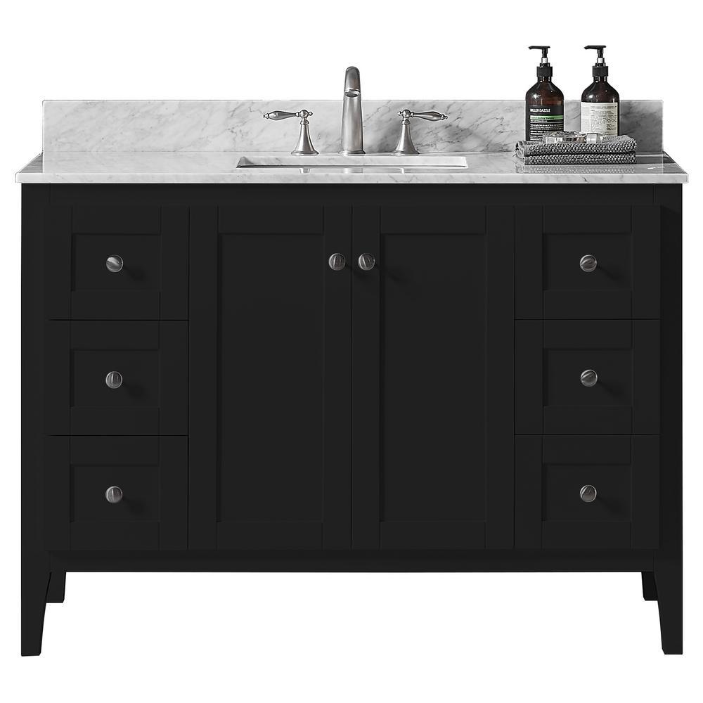 York 48 in. W x 22.4 in. D x 34.2 in. H Bath Vanity in Espresso w/ Carrara Marble Vanity Top in White w/ White Basin