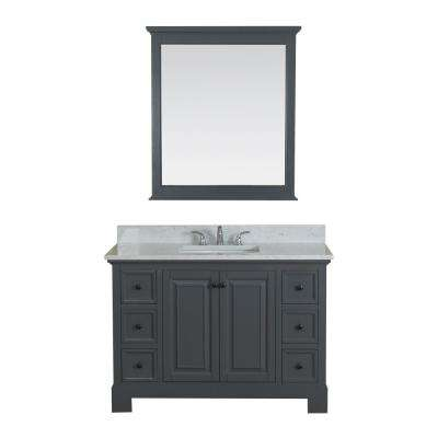 Richmond 48 in. W x 22 in. D Vanity in Gray with Marble Vanity Top in White with White Basin and Mirror