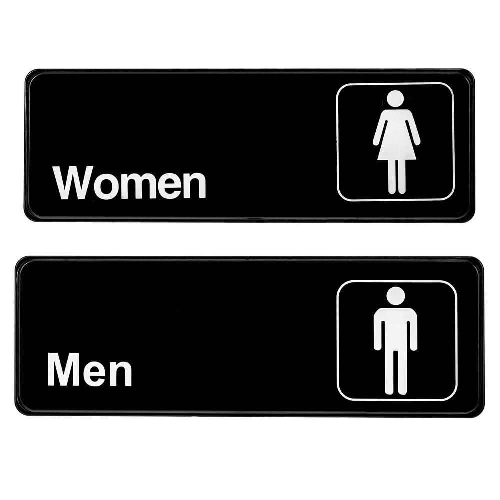 3 in. x 9 in. Black Men and Women Restroom Sign (2-Pack)