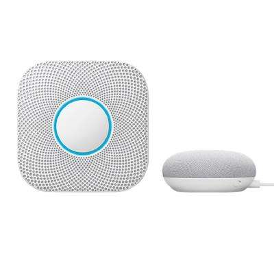 Nest Protect Wired Smoke and Carbon Monoxide Detector with Google Home Mini Chalk