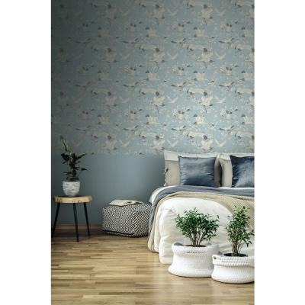 Airone Blue Crane Wallpaper Sample