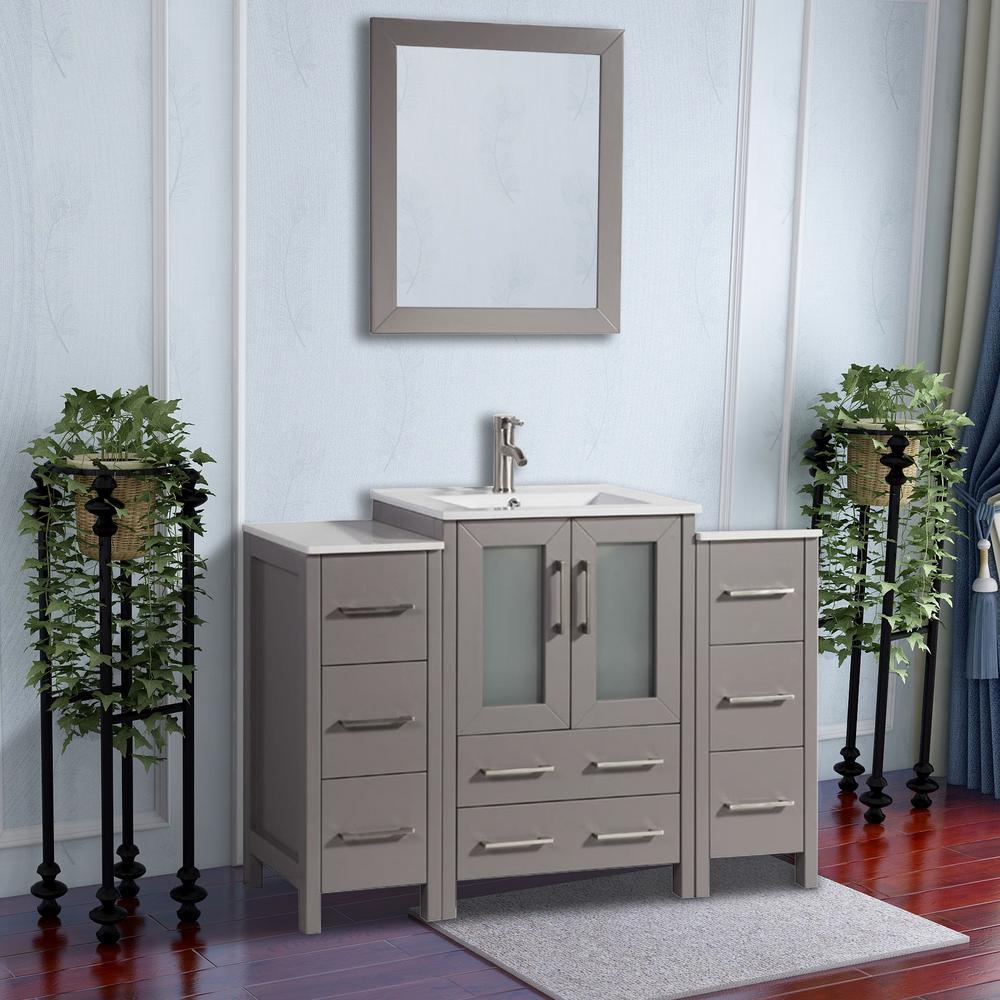 Brescia 48 in. W x 18 in. D x 36 in. H Bathroom Vanity in Grey with Basin Vanity Top in White Ceramic and Mirror