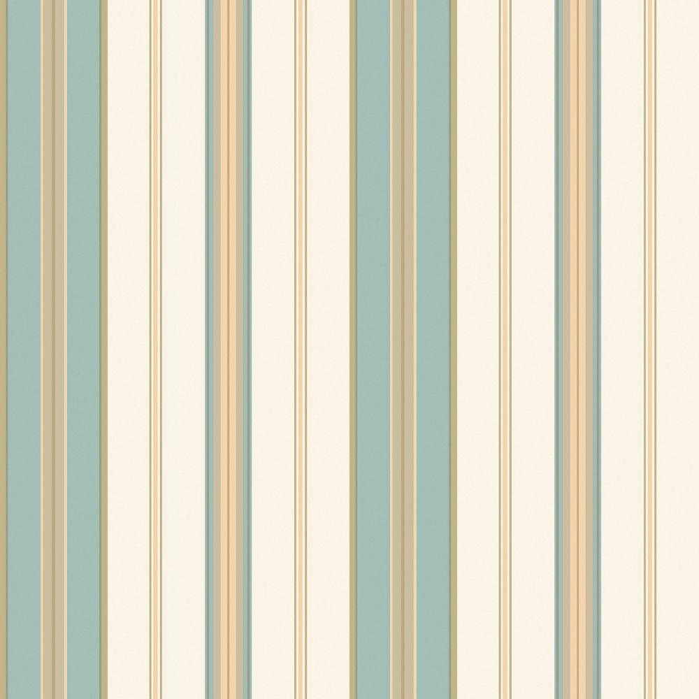 The Wallpaper Company 56 sq. ft. Blue and Tan Barcode Stripe Wallpaper