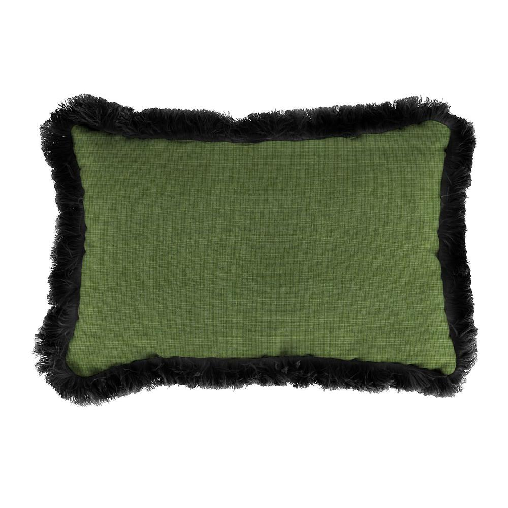 Jordan Manufacturing Sunbrella 9 in. x 22 in. Surge Cilantro Lumbar Outdoor Pillow with Black Fringe