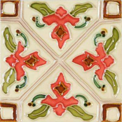 Hand-Painted Ceramic Tulipan 6 in. x 6 in. x 6.35 mm Glazed Ceramic Wall Tile (2.5 sq. ft. / case)
