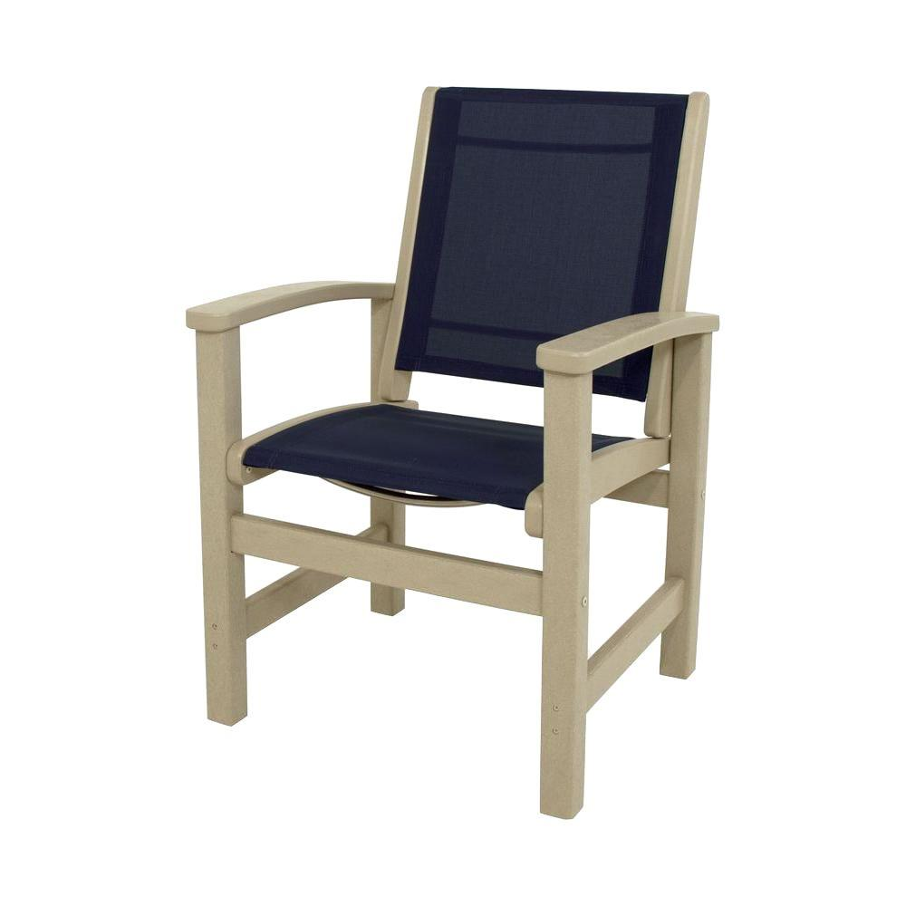 Coastal Sand All-Weather Plastic/Sling Outdoor Dining Chair in Navy Blue