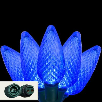 24 ft. 25-Light LED Blue Commercial C9 String Lights with Watertight Coaxial Connectors