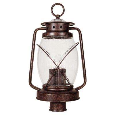 3-Light Outdoor New Tortoise Shell Post Lantern with Clear Seeded Glass Shade