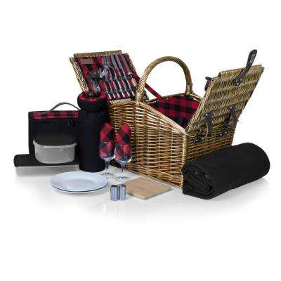 Somerset Willow Red Wood Picnic Basket