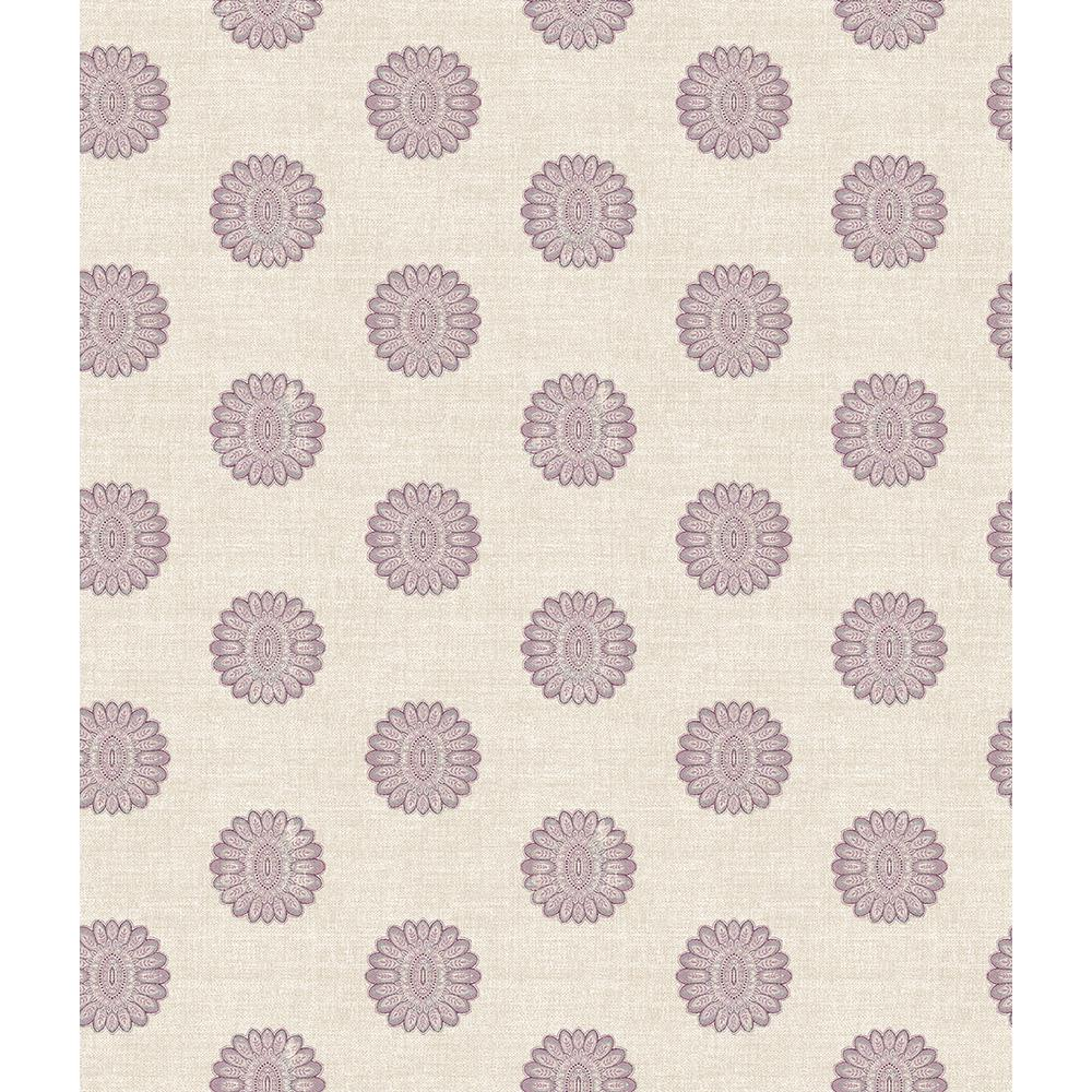 A-Street Lise Purple Medallion Wallpaper