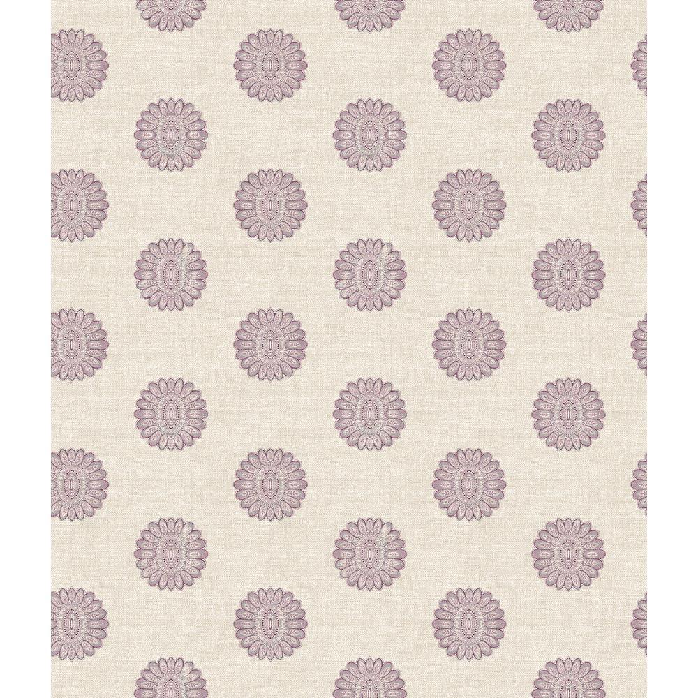 A-Street Lise Purple Medallion Wallpaper Sample 2657-22236SAM