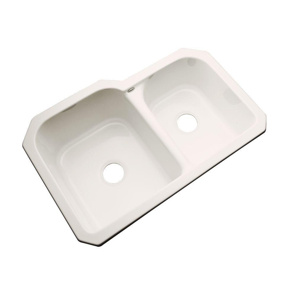 Thermocast Cambridge Undermount Acrylic 33 in. 0-Hole Double Basin Kitchen Sink in Bone
