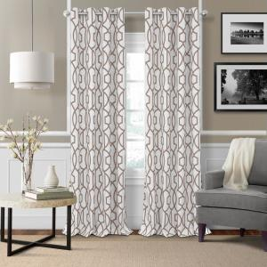 Elrene Celeste 52 inch W x 84 inch L Polyester Single Blackout Window Curtain Panel in Taupe by Elrene