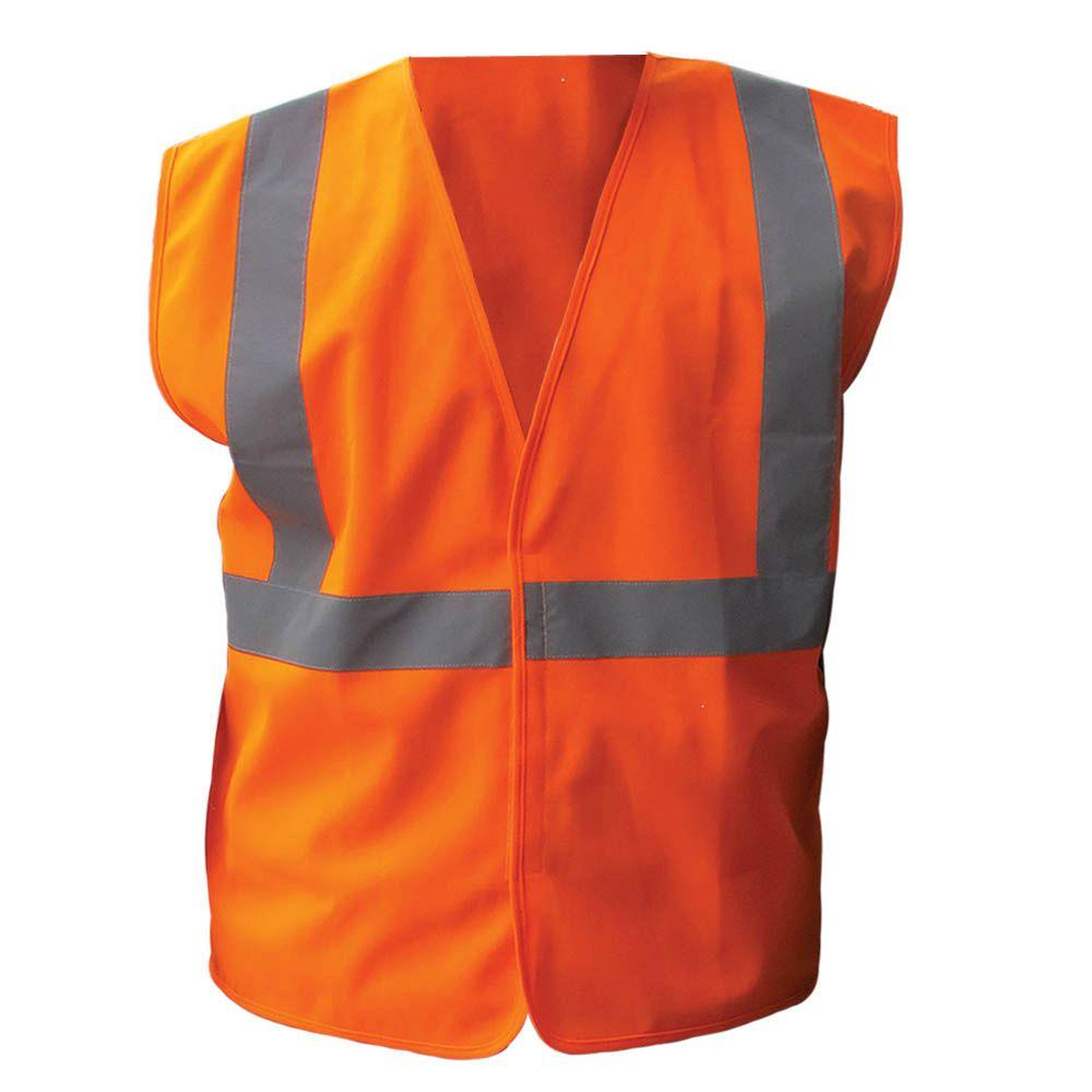 Size 2X-Large Orange ANSI Class 2 Solid Polyester Economy Safety Vest