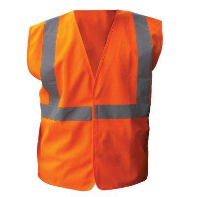 Size Extra-Large Orange Solid ANSI Class 2 Polyester Safety Vest with 2 in. Silver Striping