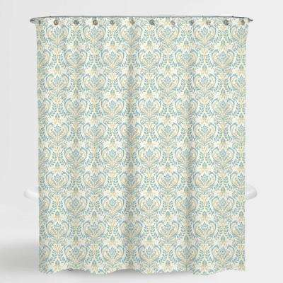 72 in. x 72 in. Damask Blue Vince Water Repellent Shower