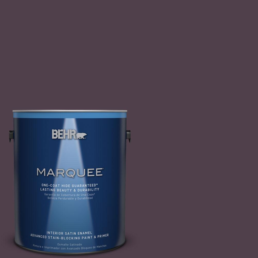 1 gal. #T13-10 Plum Orbit Satin Enamel Interior Paint
