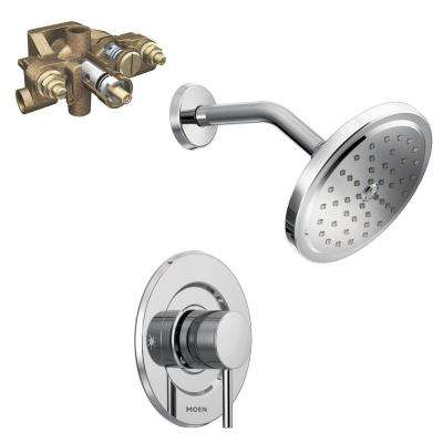 Align Single-Handle 1-Spray Moentrol Shower Faucet Trim Kit with Valve in Chrome (Valve Included)