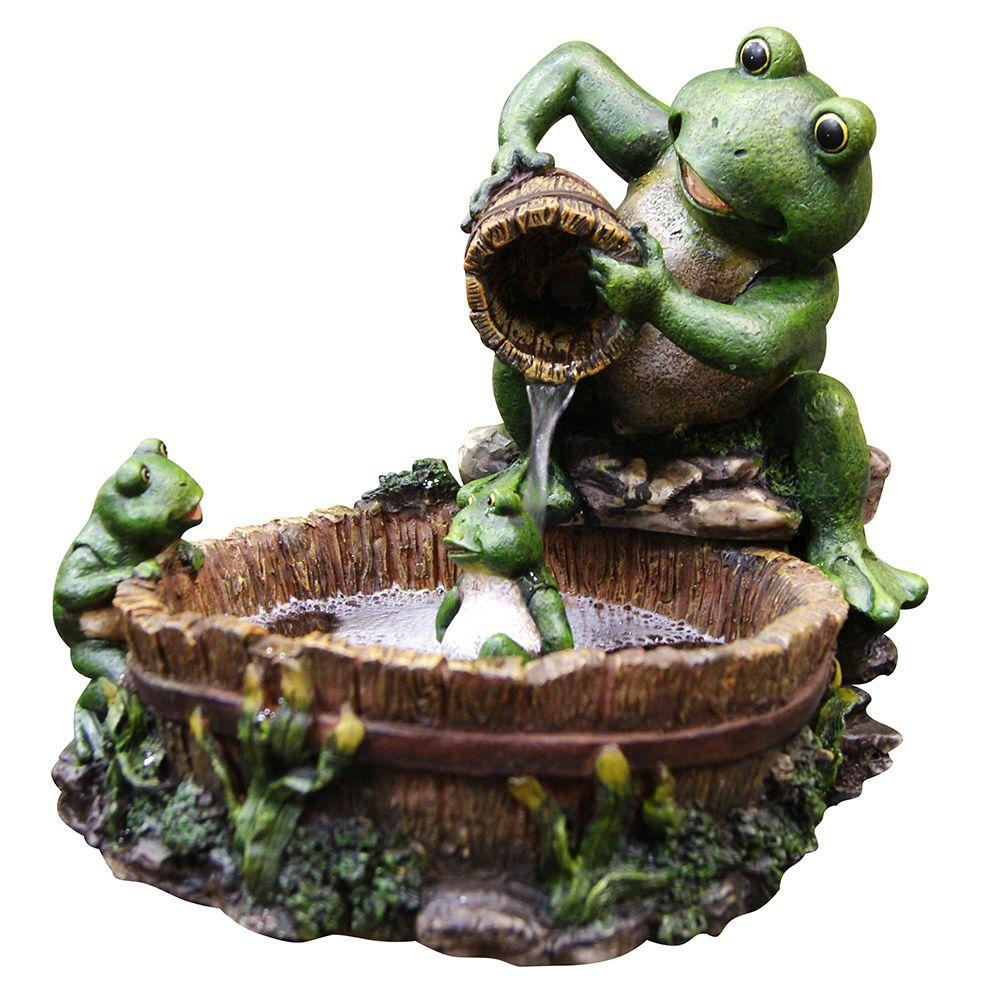 Alpine 10 In Mother Frog Bathing Family Tabletop Fountain