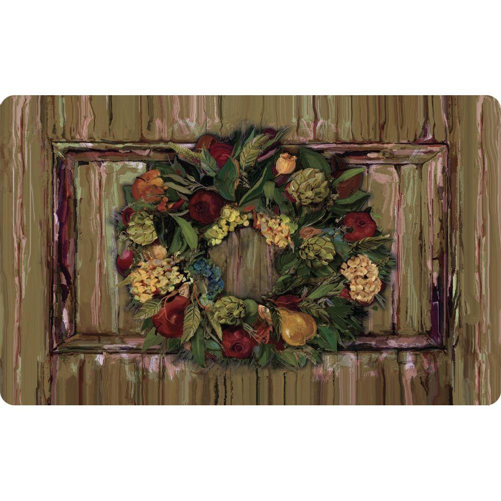 Apache Mills Wreath & Wood Cushion Comfort 18 in. x 30 in. Foam Mat-DISCONTINUED