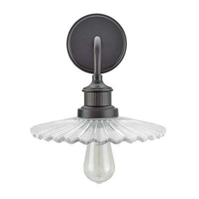 1-Light Oil Rubbed Bronze Vanity Light with Clear Glass Shade