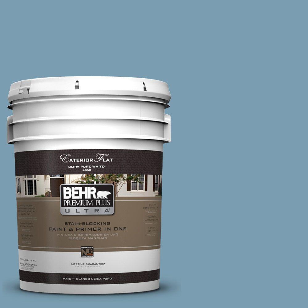 BEHR Premium Plus Ultra 5-gal. #UL230-17 Blue Cascade Flat Exterior Paint