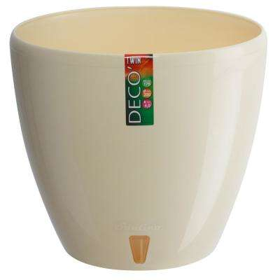 DECO 7.9 in. Cream Plastic Self Watering Planter