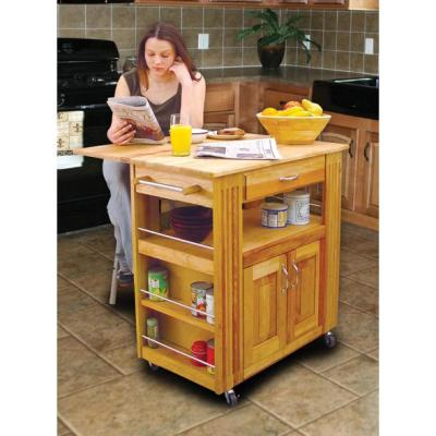 Heart-Of-The-Kitchen Natural Wood Kitchen Cart with Storage