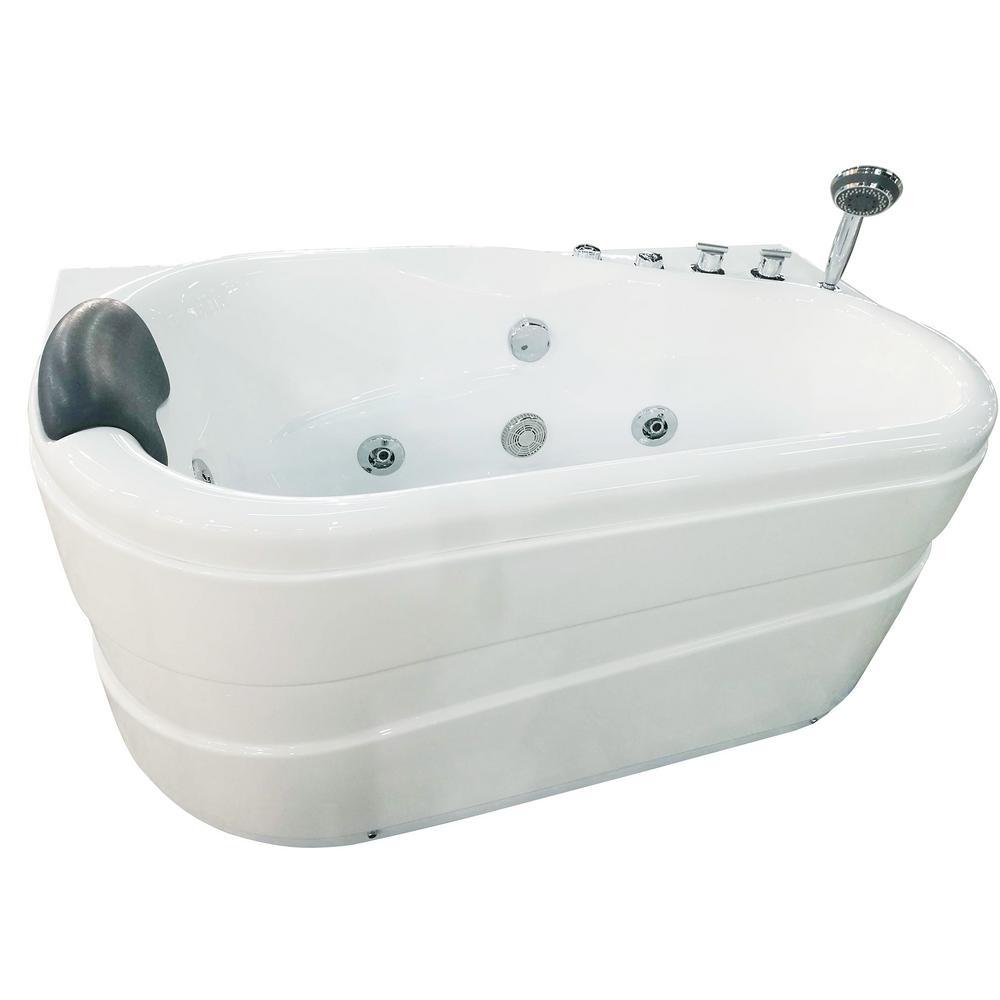 EAGO 57 in. Acrylic Flatbottom Whirlpool Bathtub in White-AM175-R ...
