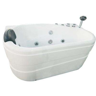 57 in. Acrylic Flatbottom Whirlpool Bathtub in White