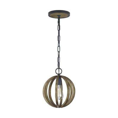 Allier 10 in. W. 1-Light Metal Painted Weathered Oak Wood/Antique Forged Iron Mini Pendant