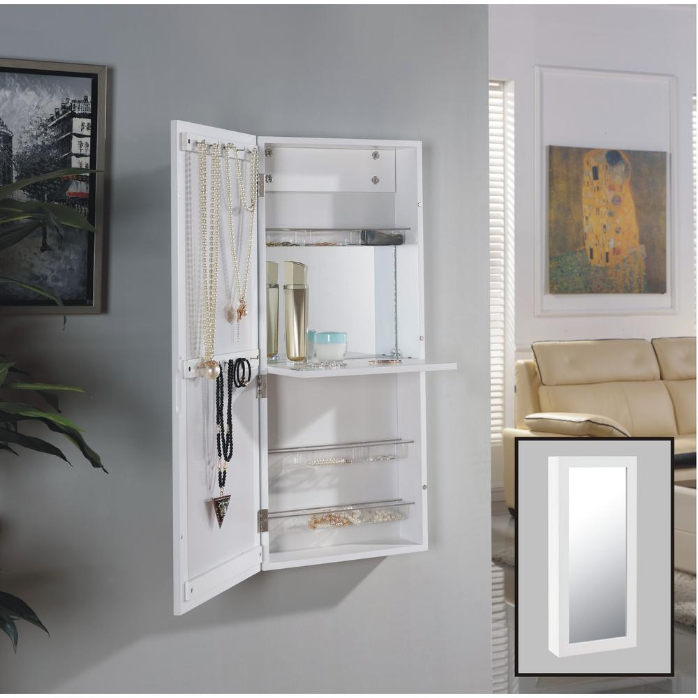 DANYA B Urban White Over The Door Jewelry And Makeup Cabinet Mirror With  Interior Mirror And