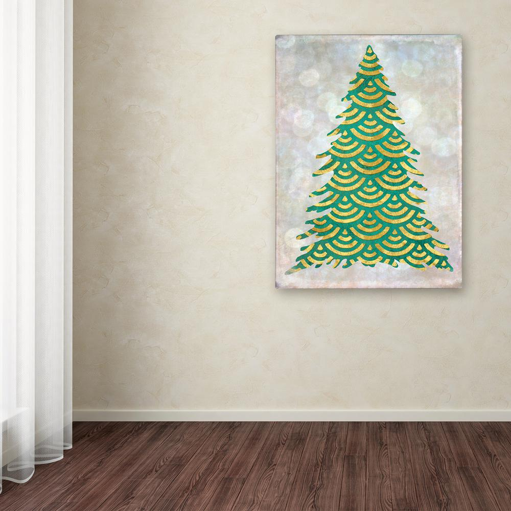 "19 in. x 14 in. ""Decorated Green and Gold Xmas Tree"""