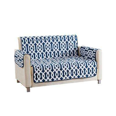 Ashmont Water Resistant Navy Fit Polyester Fit Loveseat Slip Cover