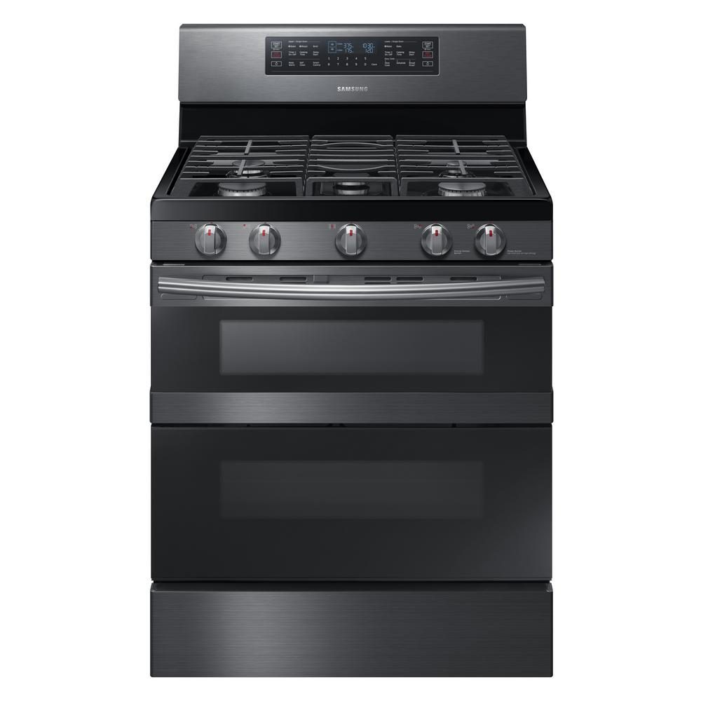 samsung 30 in 5 8 cu ft dual door gas range double oven with self cleaning and dual. Black Bedroom Furniture Sets. Home Design Ideas