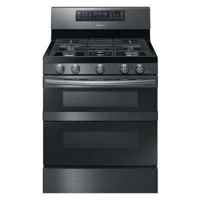 30 in. 5.8 cu. ft. Dual Door Gas Range Double Oven with Self-Cleaning and Dual Convection Oven in Black Stainless Steel