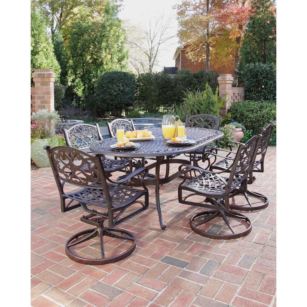 Biscayne Bronze 7-Piece Swivel Patio Dining Set