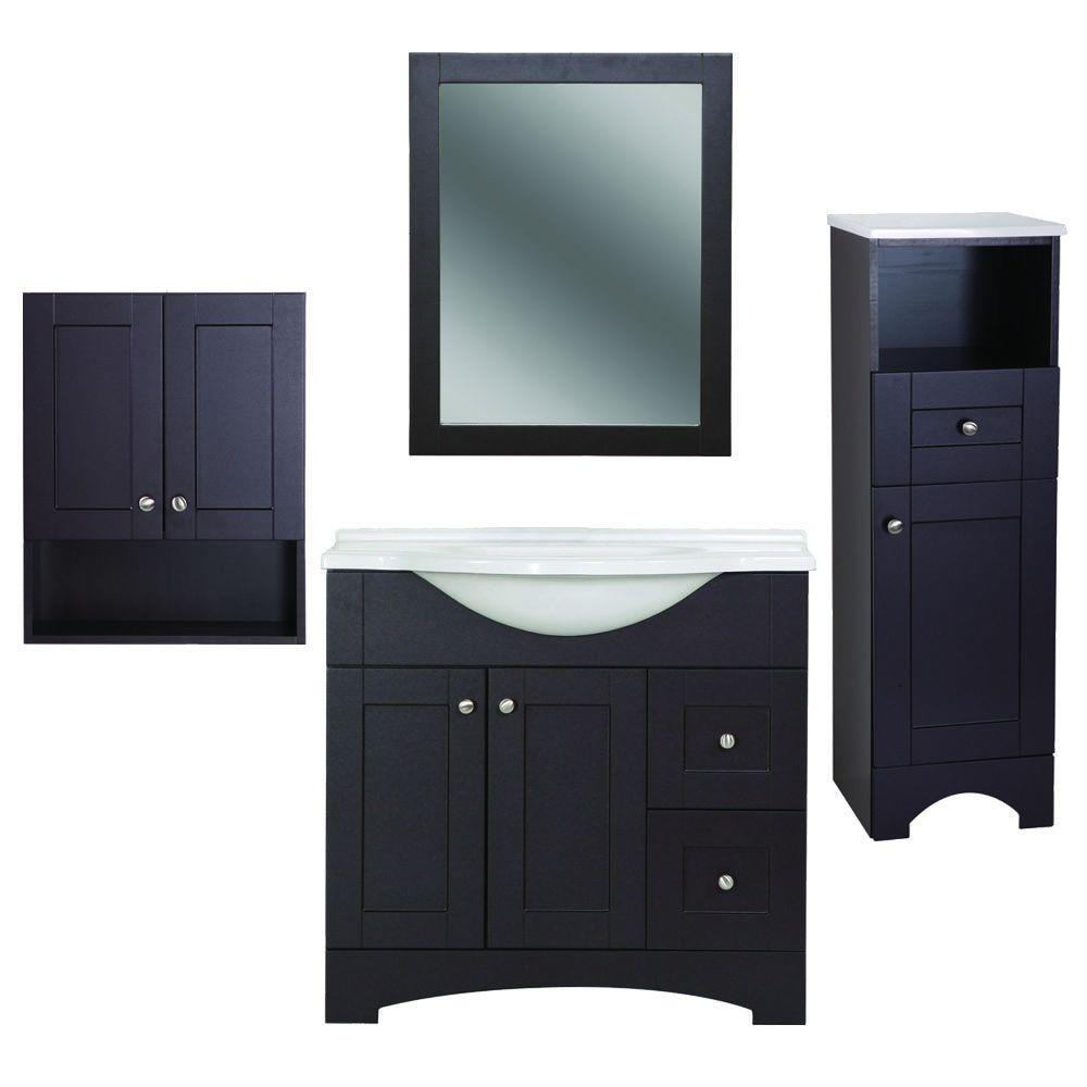 Del Mar 4-Piece Bath Suite in Espresso with 37 in. Bath Vanity with Top, Linen Cabinet, Wall Cabinet, Wall Mirror