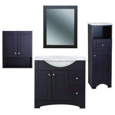 Del Mar 4-Piece Bath Suite in Espresso with 37 in. Bath Vanity with Top, Linen Cabinet, Wall Cabinet, Wall Mirror