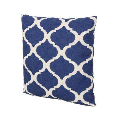 Fundy Beige and Blue Square Outdoor Throw Pillow