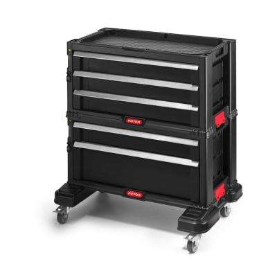 22 in. 5-Drawer Modular Roller Cabinet Tool Chest in Black